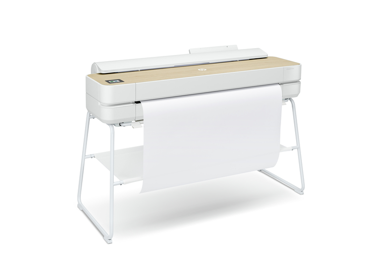 "HP DesignJet Studio Wood Top Large Format Wireless Plotter Printer - 36"", with High-Tech Wood Design"